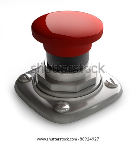 3d illustration of red button closeup isolated on white. High resolution. 3D image