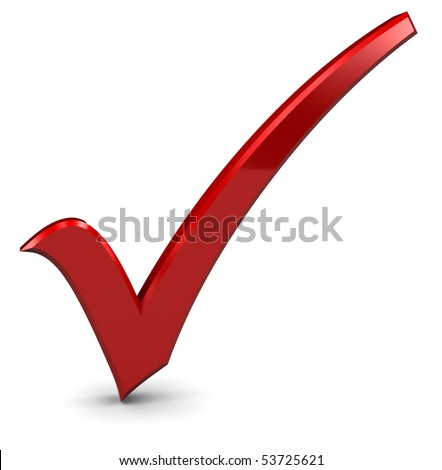 3d illustration of red check mark standing over white background - stock photo