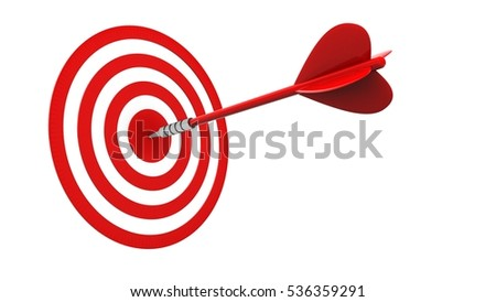 3d illustration of red dart with circles target over white background
