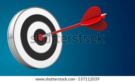 3d illustration of red dart with round target over blue background