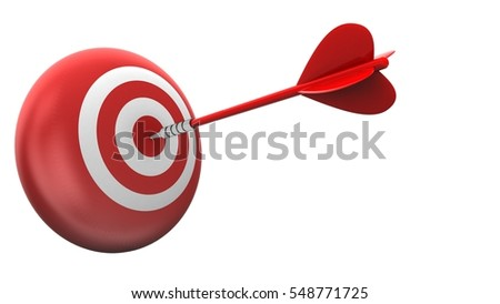 3d illustration of red dart with target sphere over white background
