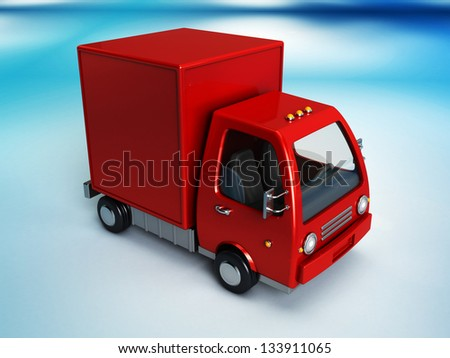 3d illustration of red delivery truck overblue background - stock photo