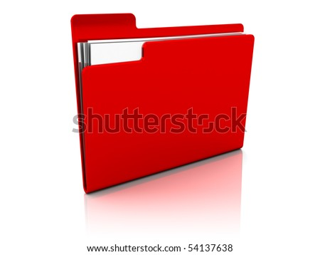 3d illustration of red folder icon over white background - stock photo