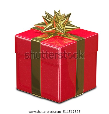 3D Illustration of Red Gift Box with Golden Ribbon