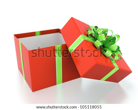3D illustration of red gift box with green ribbon