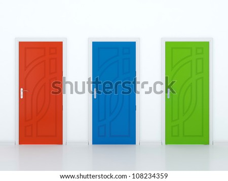 3D illustration of red green and blue doors in white wall - stock photo