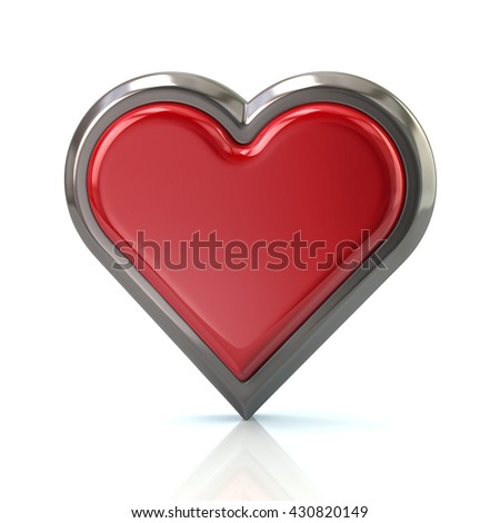 3d illustration of red heart icon isolated on white background - stock photo