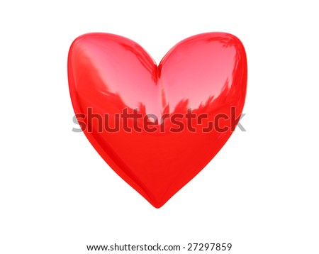 3d illustration of red heart icon, symbol isolated over white background