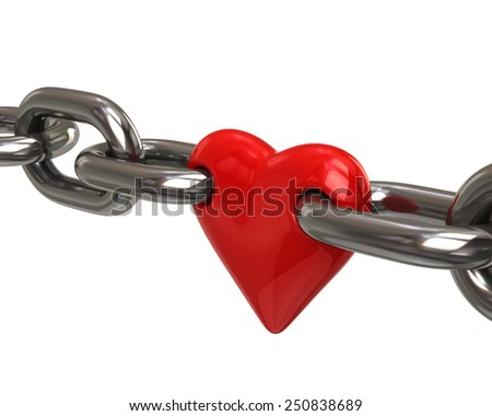 3d illustration of red heart in chain - stock photo