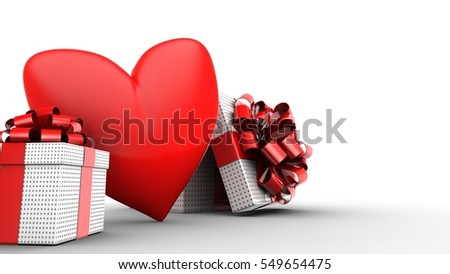 3d illustration of red heart over white  background with opened box and gift box