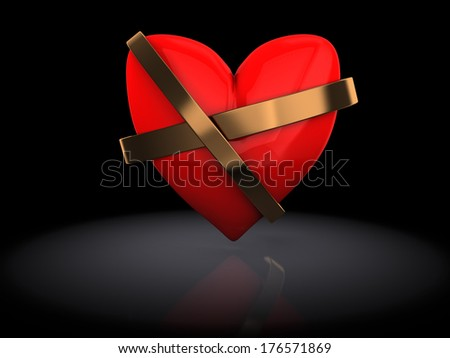 3d illustration of red heart repaired over black background - stock photo
