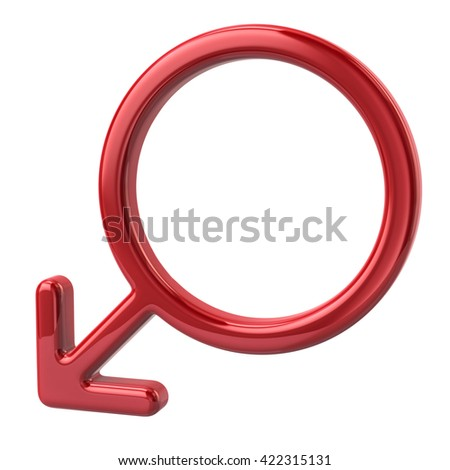 3d illustration of red male sign isolated on white background - stock photo