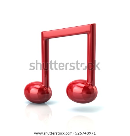 3d illustration of red music note isolated on white background