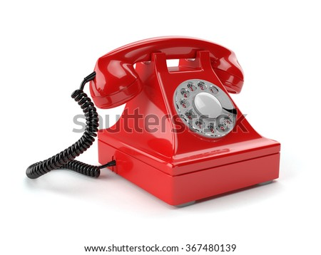 3d illustration of red old-fashioned phone isolated on white background