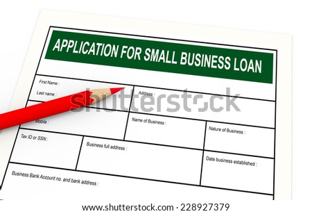 3d illustration of red pencil and business loan application. - stock photo