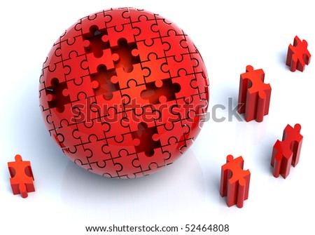 3D Illustration of red puzzle in spherical shape