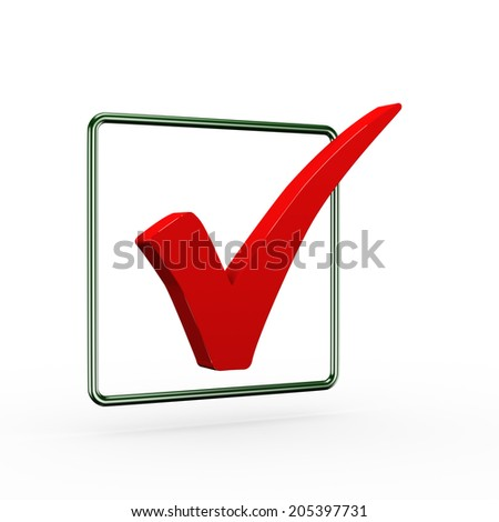 3d illustration of red right tick check mark symbol - stock photo