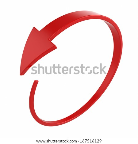 3d illustration of red round arrow on white background - stock photo