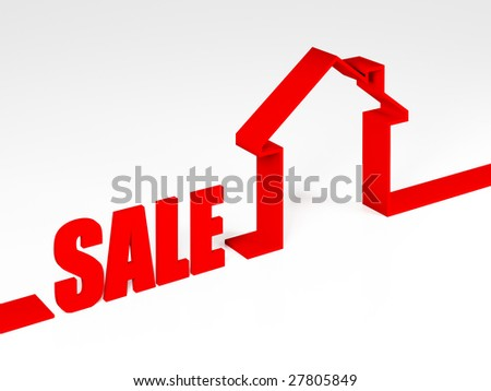 3d illustration of red sale house metaphor business background - stock photo