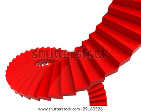 3d illustration of red spiral stairs over white background, success concept - stock photo