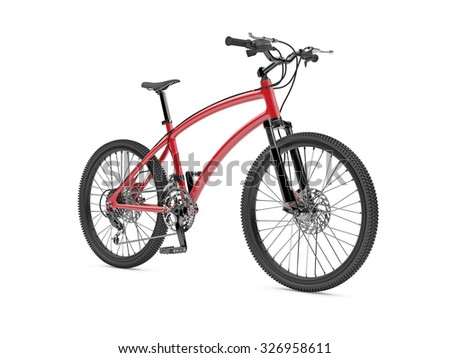 3d illustration of red sports Bike on white