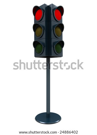3d illustration of red traffic light over white background
