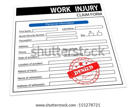 3d illustration of rejected denied rubber stamp on work injury claim form - stock photo