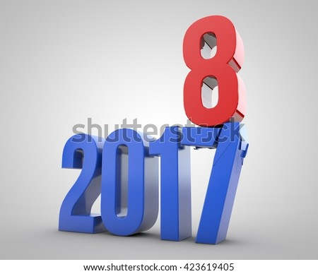 3D illustration of 2017-2018 representing the 2017 new year change