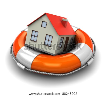 3d illustration of rescue circle with house inside - stock photo