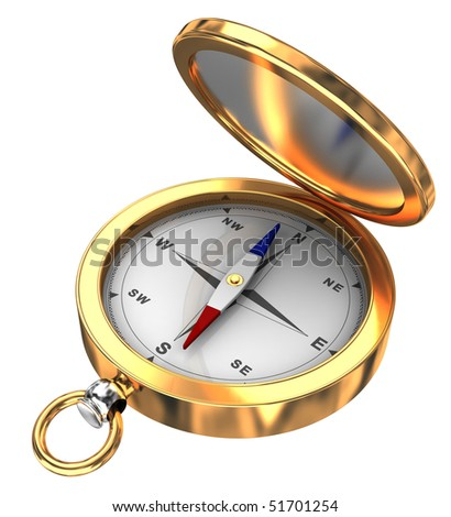 3d illustration of retro compass isolated over white background - stock photo