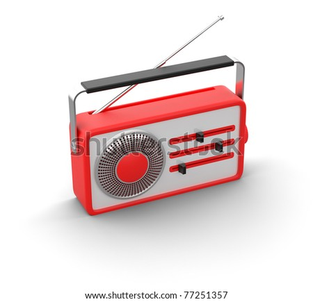 3d illustration of retro red radio - stock photo