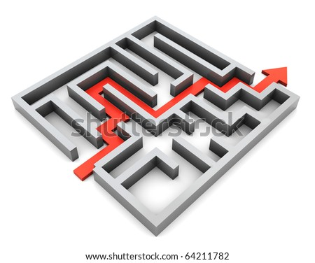 3d illustration of right route and maze, over white background - stock photo