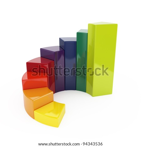 3d illustration of ring colorful chart isolated on white background - stock photo