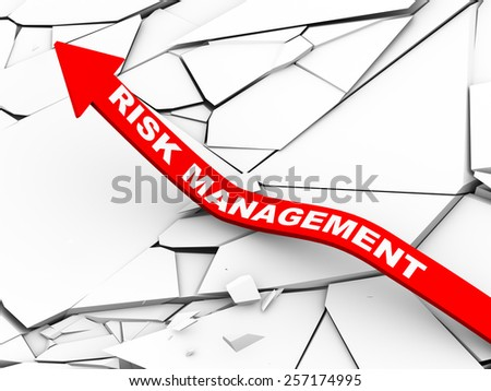 3d illustration of rising arrow with risk management over cracked and destroyed land.  Concept of risk management, disaster planning  - stock photo