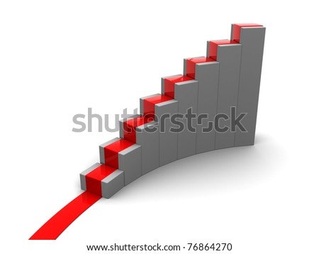 3d illustration of rising charts or stairs with red carpet - stock photo