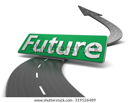 3d illustration of road and future sign, over white background - stock photo