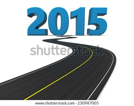 3d illustration of road and new year sign 2015 - stock photo