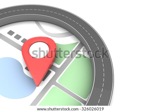 3d illustration of road and red pin, navigation concept - stock photo