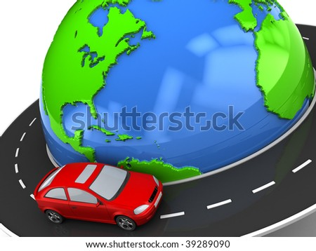 3d illustration of road around earth with red car - stock photo
