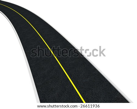 3d illustration of road isolated over white background