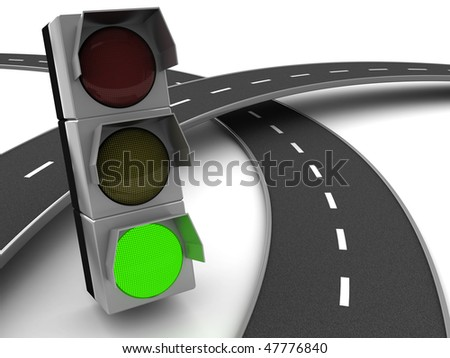 3d illustration of road knot cross and traffic light