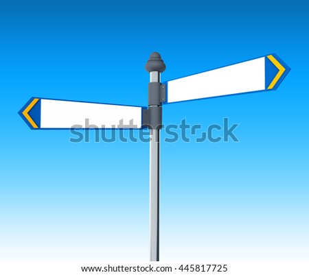 3d Illustration of road sign, the direction of two roads