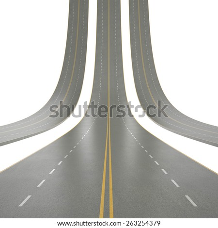 3d illustration of roads curved up, isolated on a white background. 3d high resolution image