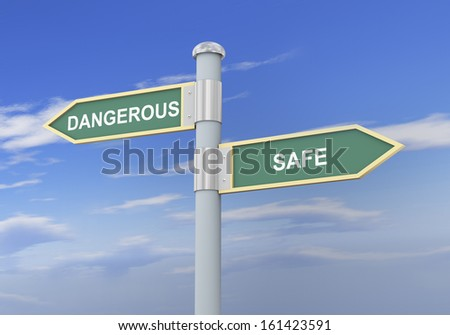 3d illustration of roadsign of words dangerous and safe.