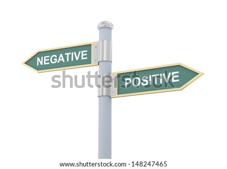 3d illustration of roadsign of words negative and positive. - stock photo