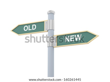 3d illustration of roadsign of words old and new - stock photo