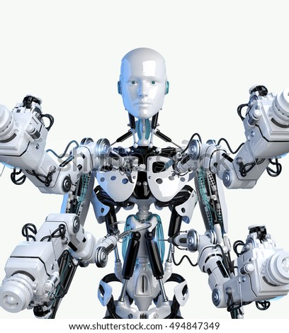 3d illustration of robot and robotic arms