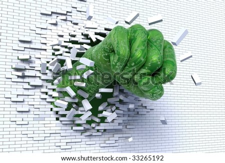 3D illustration of robotic hand punching and breaking through a brick wall, metaphor for technological break through and revolution - stock photo