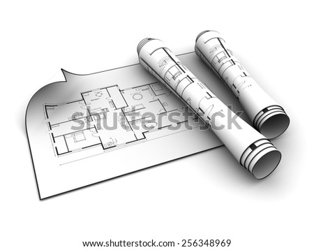 3d illustration of rolled blueprints over white background - stock photo