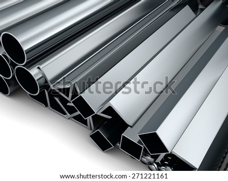 3d illustration of rolled metal assortment, over white background - stock photo